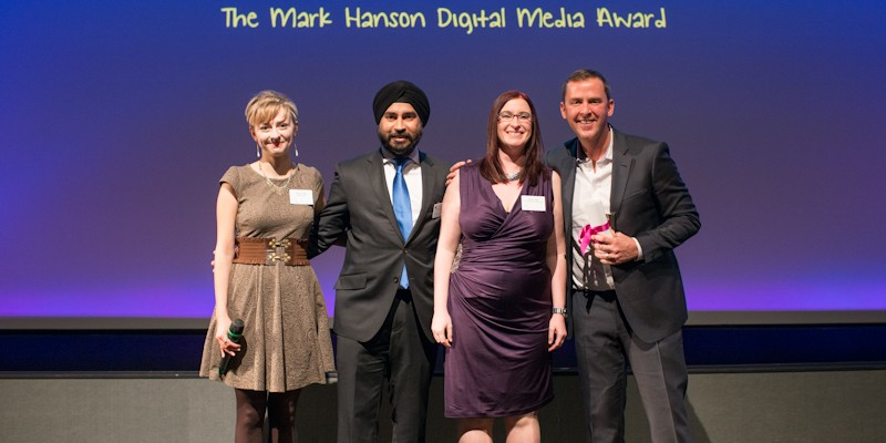 Rebecca Brown, Jag Singh, Charlotte Walker, Scott Mills at the Mind Media Awards 2013